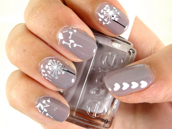 Brown Base Dandelion Flower Nail Art.