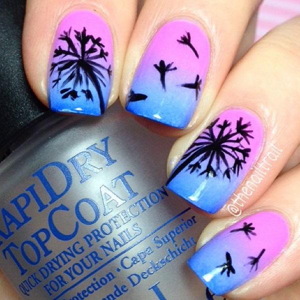 Blue and Purple Dandelion Nails.
