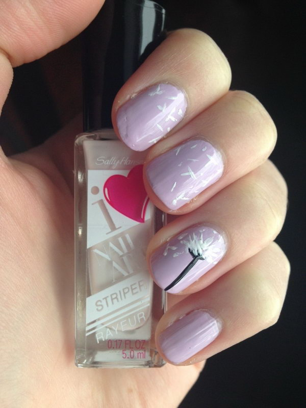 Purple Base Dandelion In Wind Nail Design.