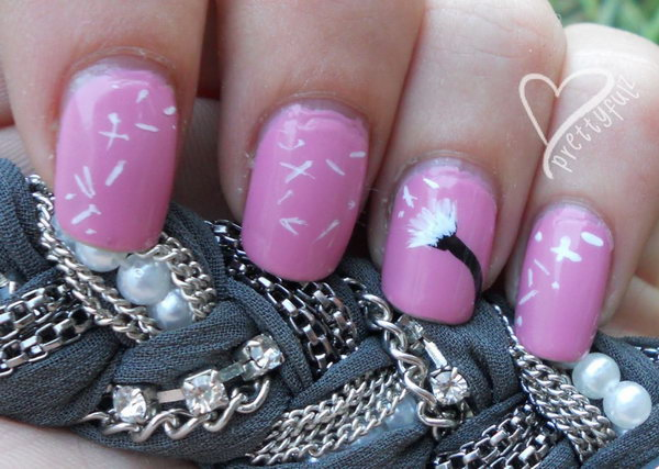 Girly Pink Base White Dandelion Nail Art Design.