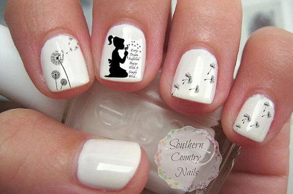 White Dandelion Nail Art.