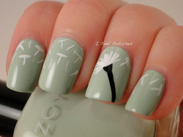 Matte Olive Dandelion Manicure. See more details