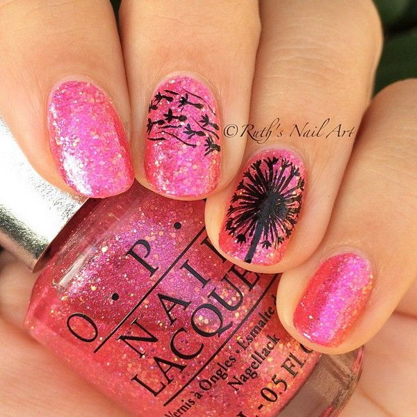 Pink Glitter Nails with Black Dandelions.