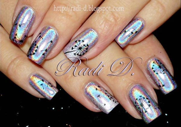 Dandelion Holographic Nails.