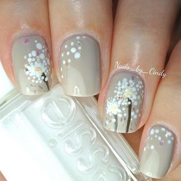 Dandelion Nail Art.