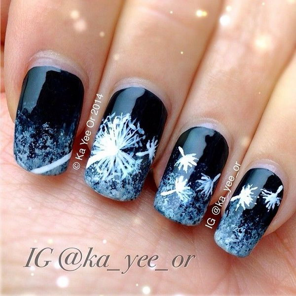 Black and White Dandelion Nail Art.