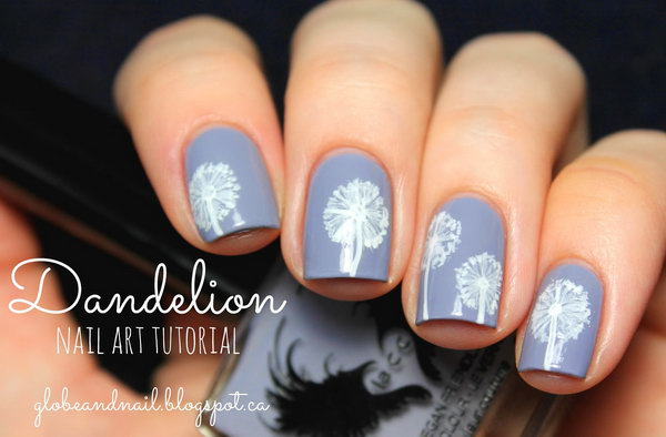 Purple Background Dandelion Nail Art. See the tutorial