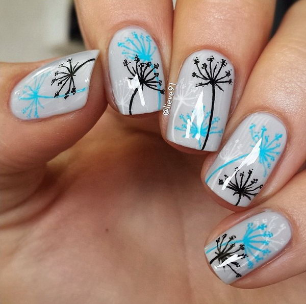 Gray Nails with Blue and Black Dandelions.