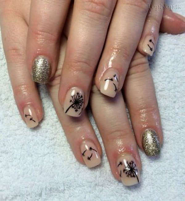 Gold Glitter and Nude Nails with Dandelions.
