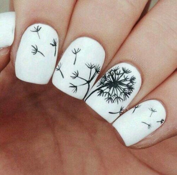 Black and White Dandelion Inspired Nail Art.