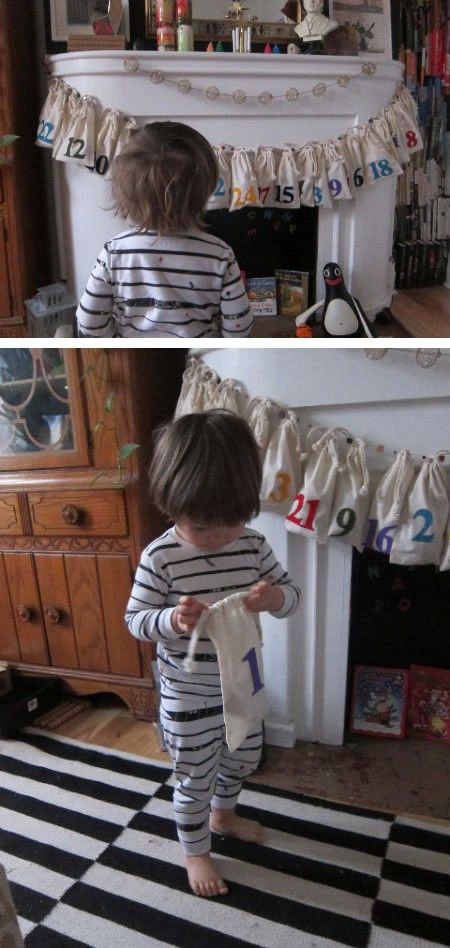 Advent Calendar Bags Garland for Toddlers.