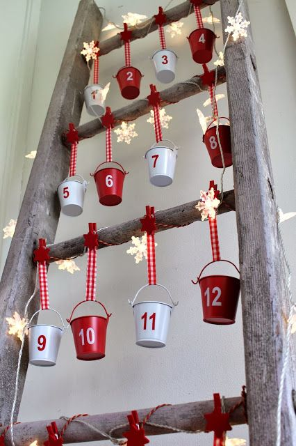 Advent Calendar on a Vintage Ladder.