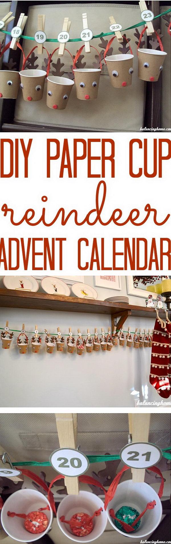 DIY Paper Cup Reindeer Advent Calendar.