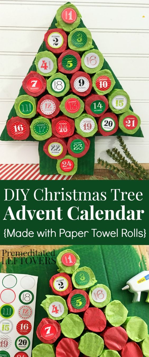 DIY Christmas Tree Advent Calendar.