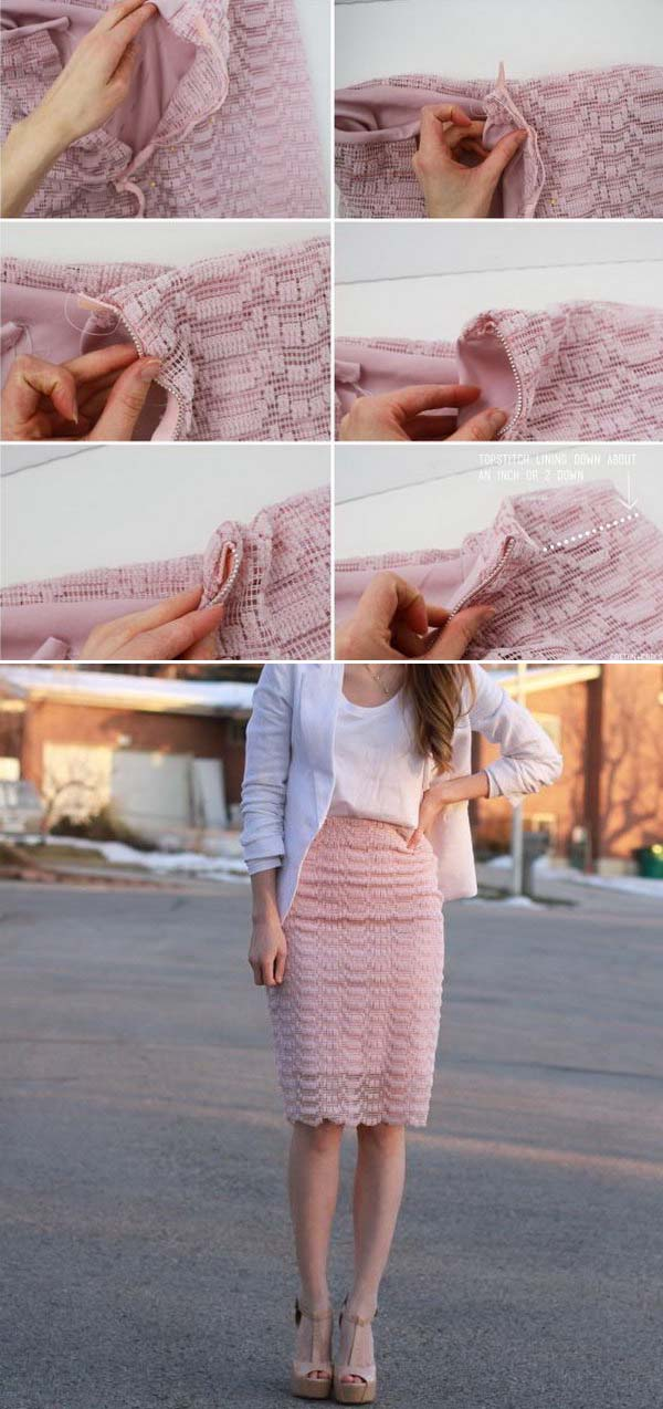 DIY Lace Skirt With Sheer and Metal Zipper Upcycled from Curtains. Get the full directions