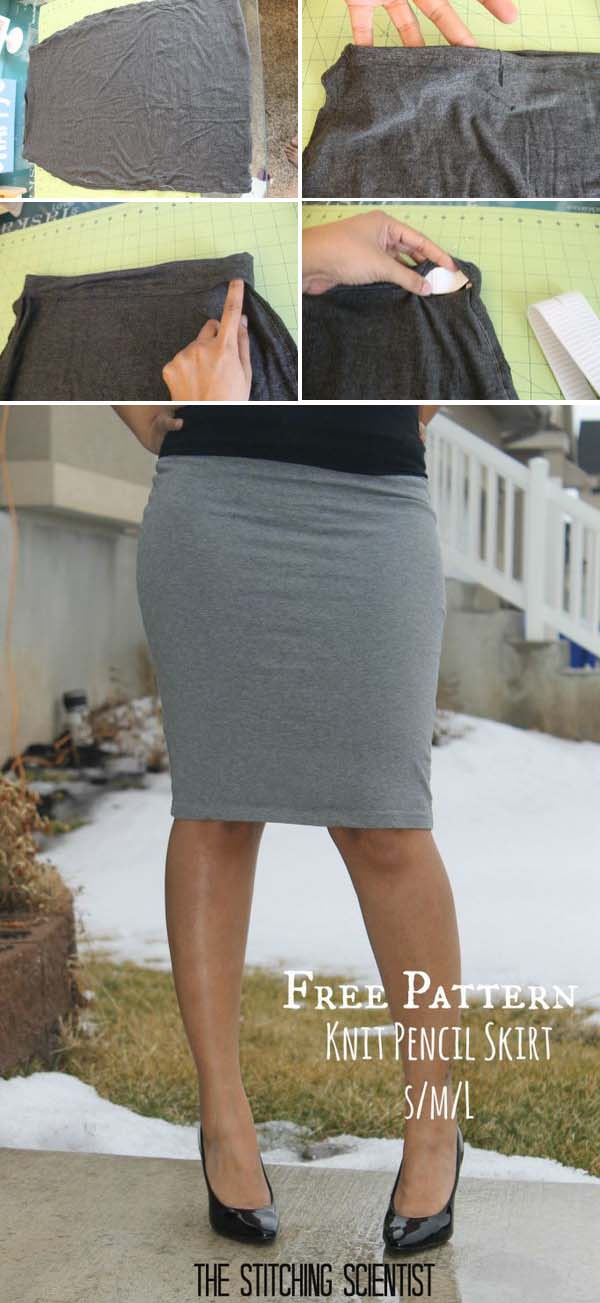 Sexy Knit Pencil Skirt. See the full tutorial