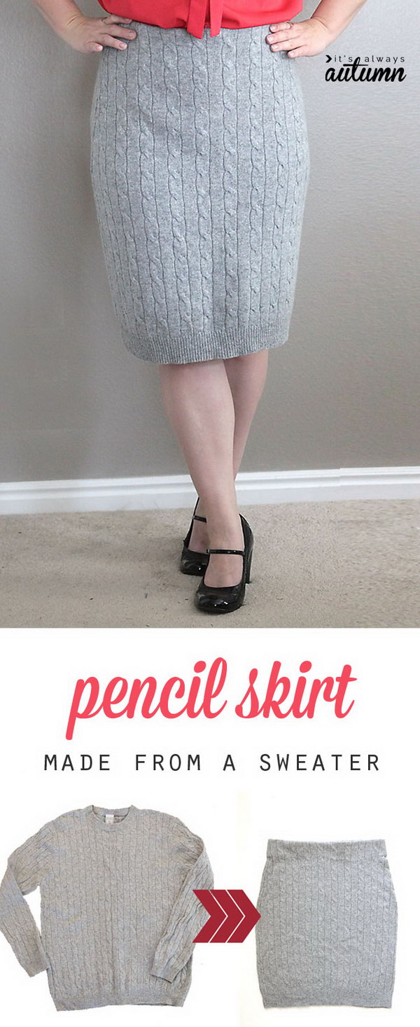 DIY Cable Knit Pencil Skirt Made from a Sweater. Get the steps