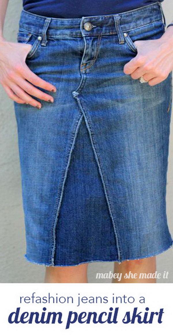 DIY Pants Pencil Skirt. Get the steps