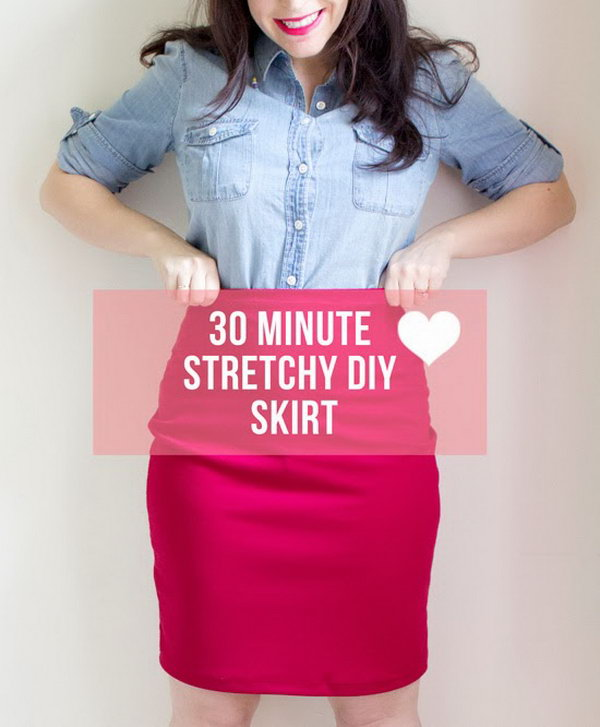 30 Minute Stretchy DIY Skirt. <a