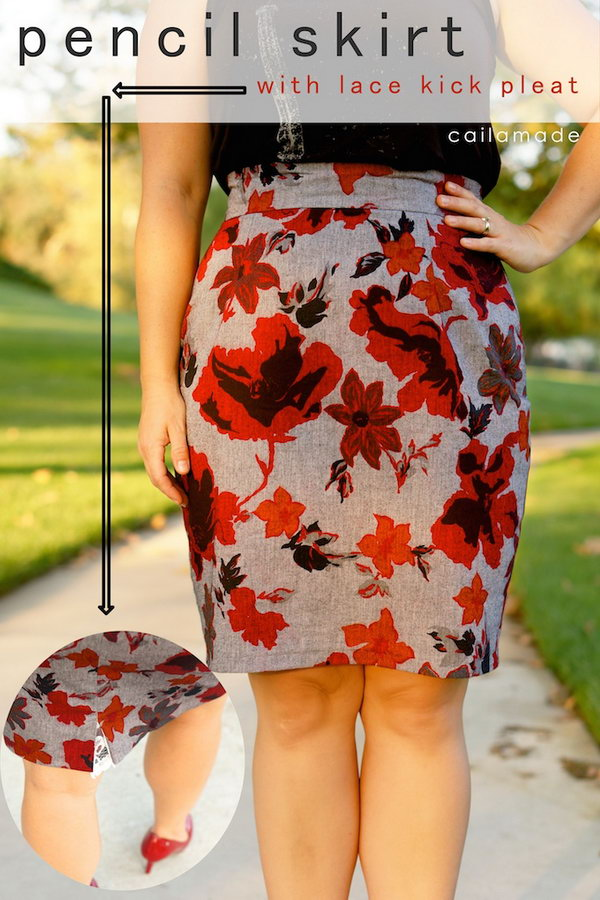 Flower Patterned Pencil Skirt. Get the directions
