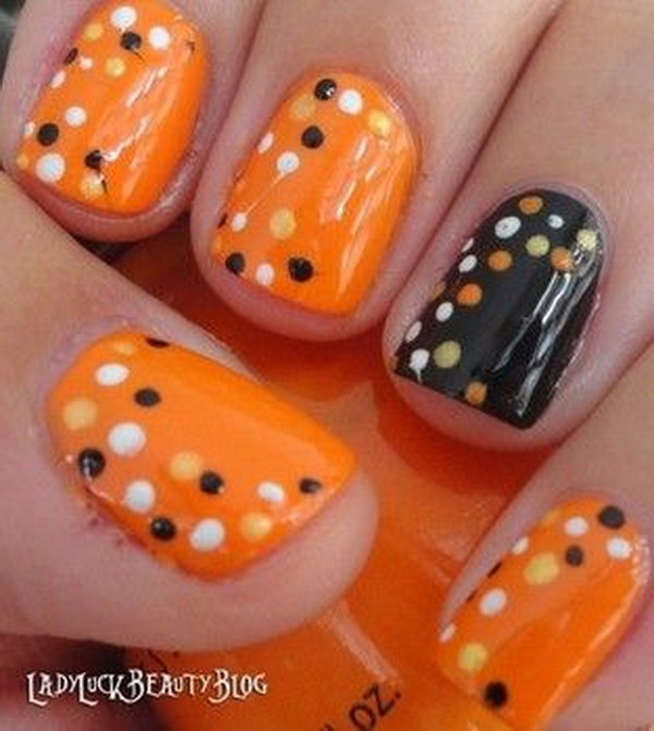 Polka Dot Fall Nails.