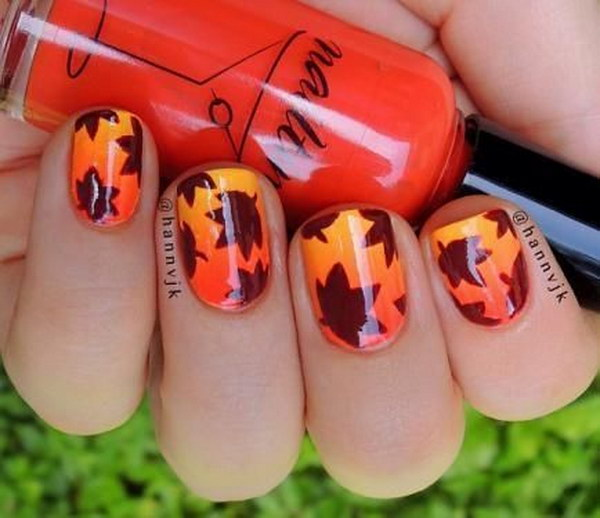 Amazing Leaf Inspired Nail Designs.