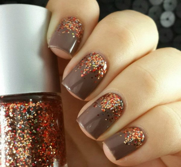 Fall Gradient Glitter Nails.