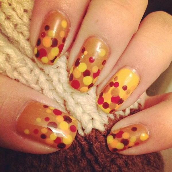 Dots Fall Inspited Nail Design.