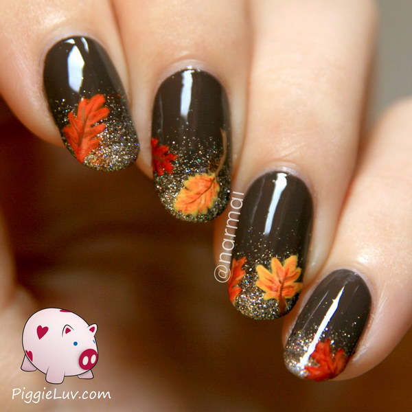 Glitter French Tip Nail Finished with Fall Flowers on Top. Get the step by step tutorial