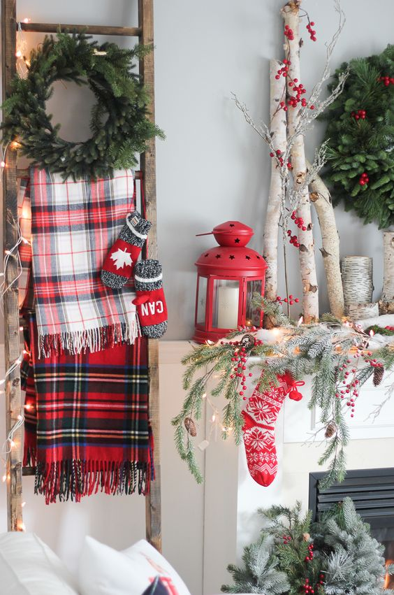 Christmas Decoration with Plaid on Vintage Ladder.