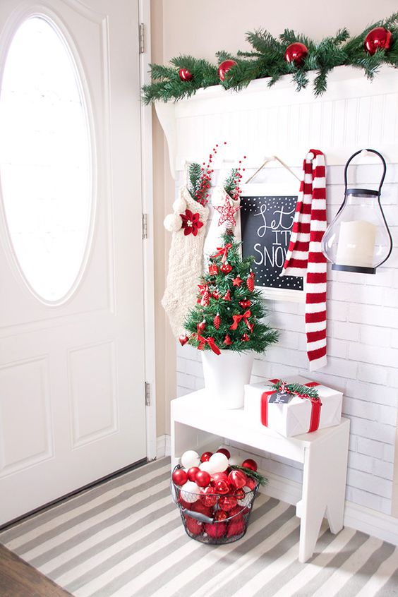 Welcoming Entrance in Festive Red and White.
