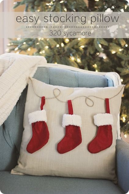 Easy to Make Cute Stocking Pillow for Christmas.