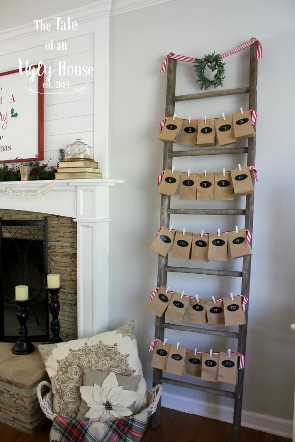 Antique Ladder With Advent Calendar For Decor.
