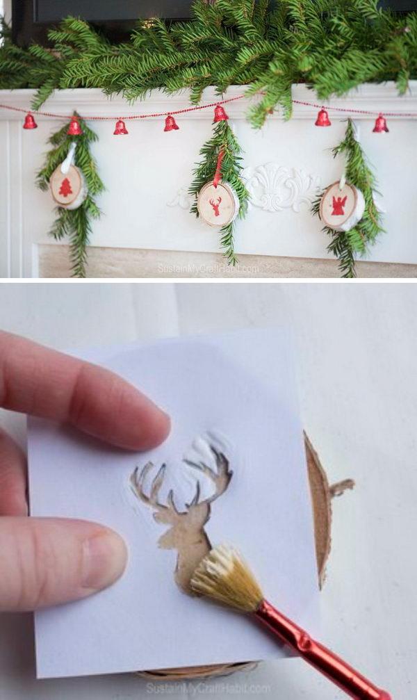 DIY Embossed Birch Branch Slice Ornaments.