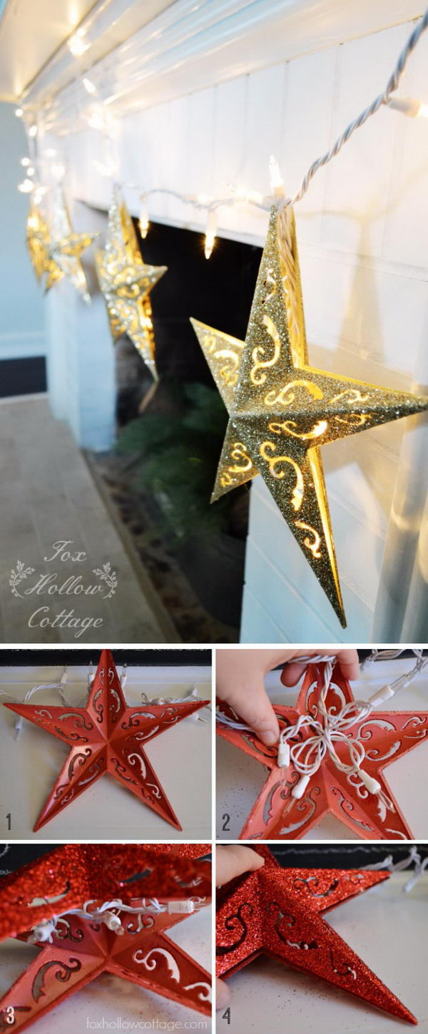 DIY Dollar Tree Christmas Ornament Lights.