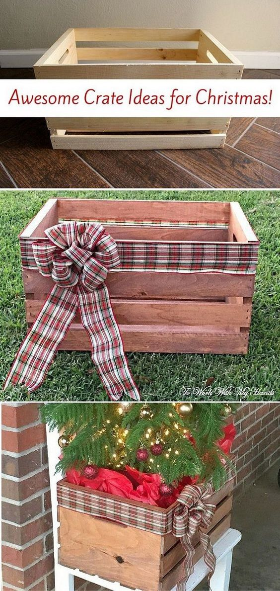 DIY Faux Wood Crate Planter for Christmas.