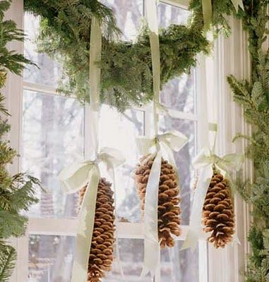 Christmas Pinecone Window Decoration.