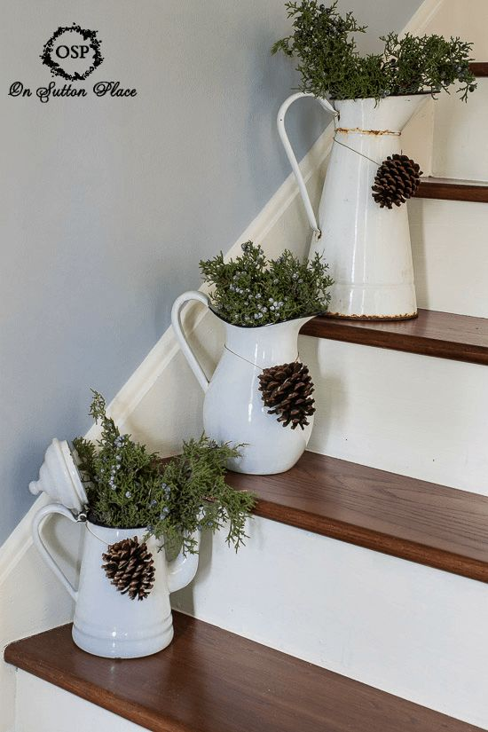 fresh juniper and pine cones in vintage enamelware - Vintage Farmhouse Christmas Decor