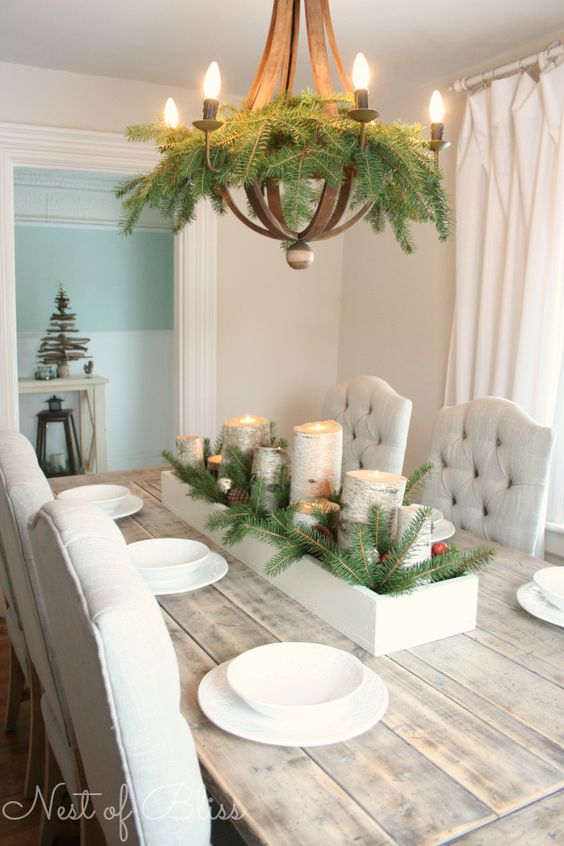 Easy Farmhouse Table Centrepiece with Birch Candles.