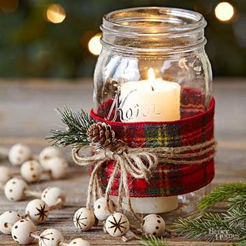 Farmhouse Mason Jar Decor for Christmas.