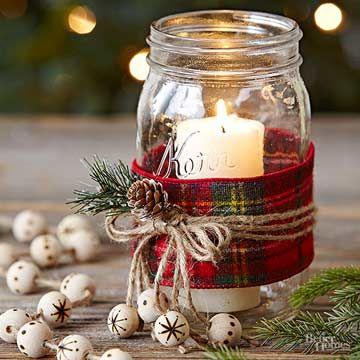 Farmhouse Mason Jar Decor for Christmas.