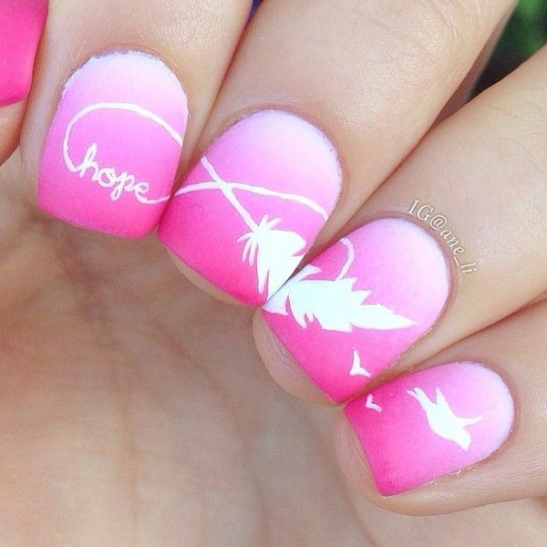 Feather Nail Designs With Infinity Sign. Very pretty! I have to say, I am really into this feather design.