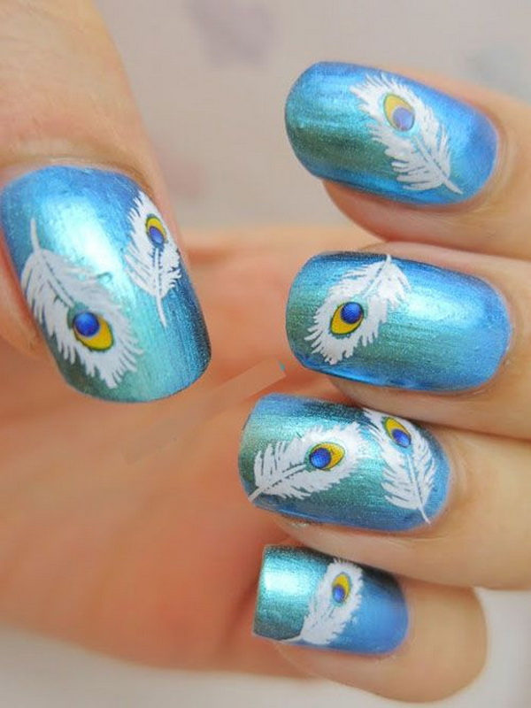Free Hand Painted Peacock Feather Nail Art. Very pretty! I have to say, I am really into this feather design.
