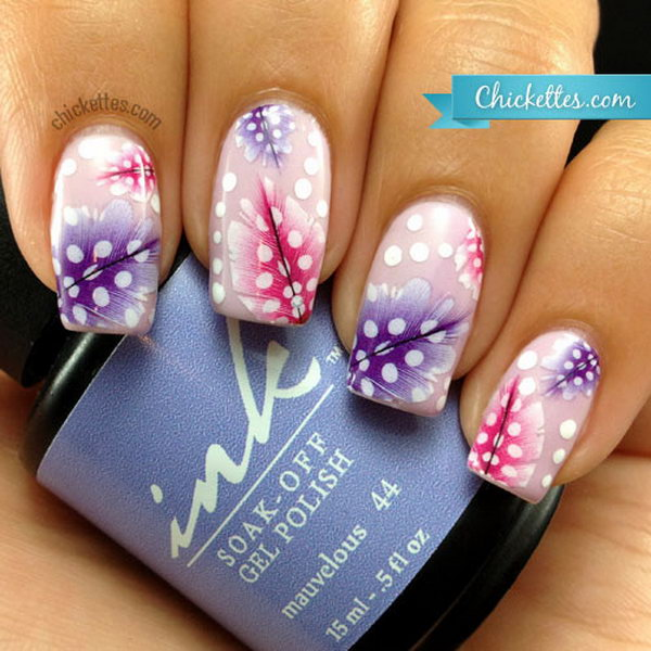 Nail Art with Feather Water Decals. Very pretty! I have to say, I am really into this feather design.