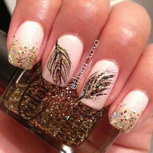 Pink Base with Feathers and Glitter Nail Art. Very pretty! I have to say, I am really into this feather design.