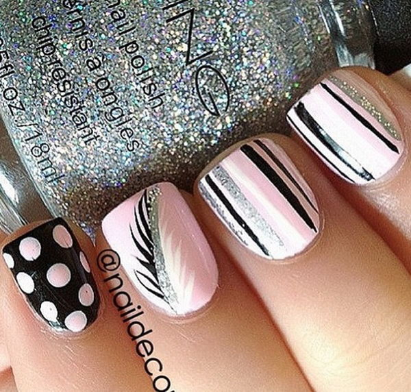 Pink Nails with Feather and Dots. Very pretty! I have to say, I am really into this feather design.
