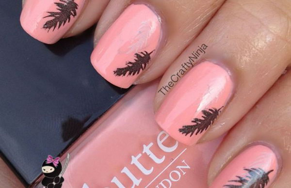 Pink and Feather Stamping Nails. Very pretty! I have to say, I am really into this feather design.
