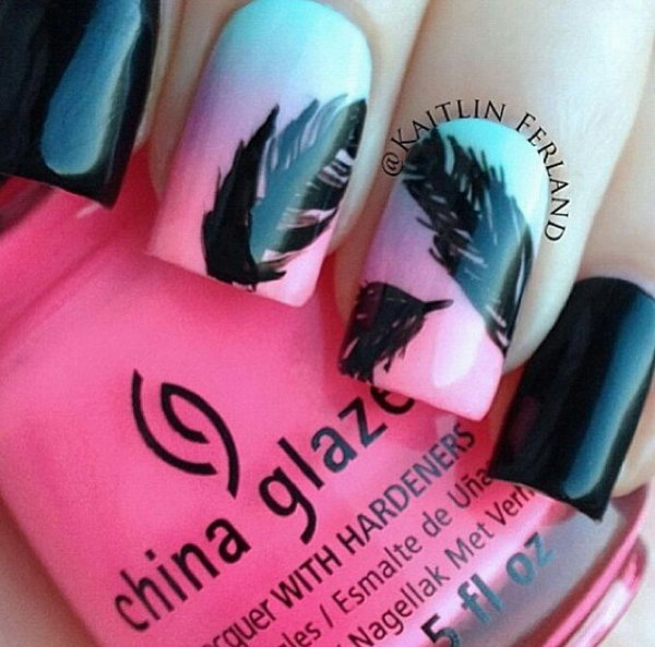 Feather Nail Design - 40+ Pretty Feather Nail Art Designs And Tutorials