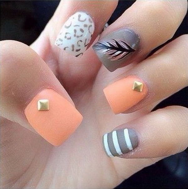Strips and Feather Nails. Very pretty! I have to say, I am really into this feather design.