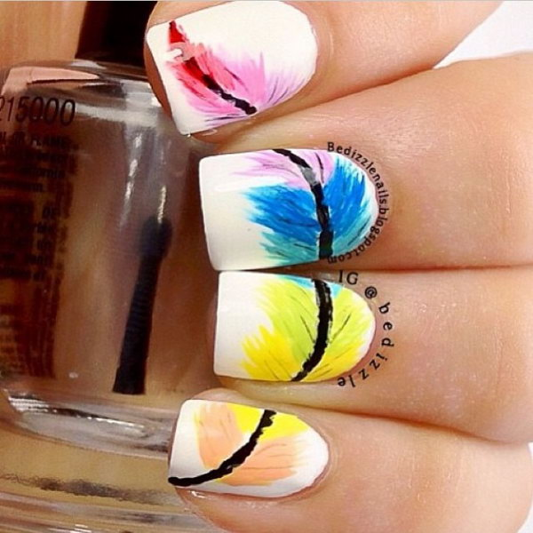 Rainbow  Feather Nail Designs. Very pretty! I have to say, I am really into this feather design.